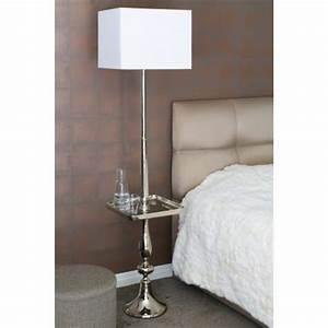 Stehlampe Mit Tisch : stehleuchte mit ablage metall silber stehlampe mit tisch und lampenschirm wei ~ Indierocktalk.com Haus und Dekorationen