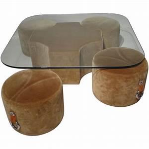 Table Basse Pouf Intégré : table basse en verre avec 4 poufs int gr s 1970 design market ~ Dallasstarsshop.com Idées de Décoration