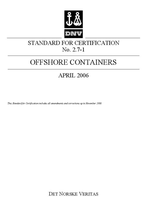 Standard DNV 2.7-1 Offshore Container | Cargo