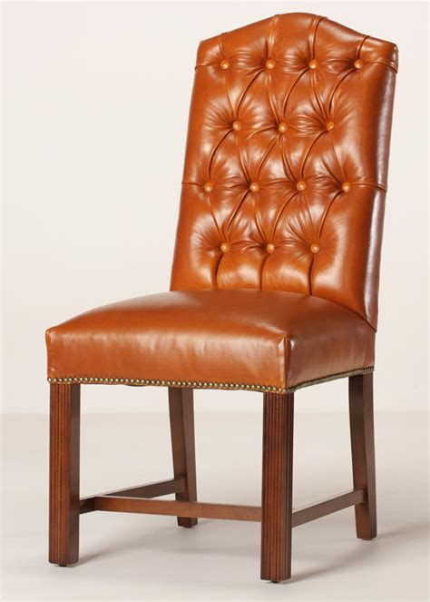 leather tufted camel back dining chair