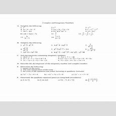 Complex And Imaginary Numbers 11th  12th Grade Worksheet  Lesson Planet
