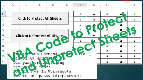 protect and unprotect sheets using vba excel vba exle