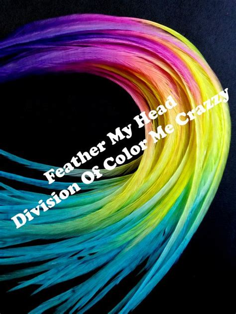 Feather Hair Extensions Multi Color Rainbow Long Premium