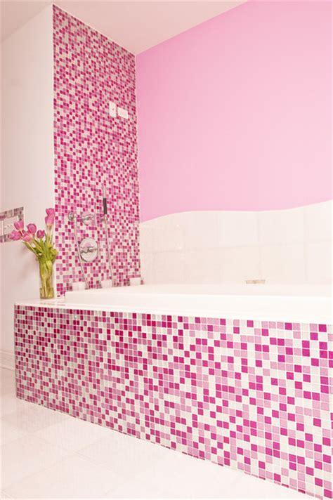 pink glitter bathroom contemporary bathroom  york