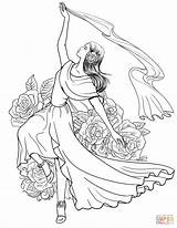 Coloring Pages Spanish Flamenco Dancing Woman Spain Supercoloring Dancer Dance Printable Ballroom Drawing Colouring Drawings Sheets Coloriage Ballet Flag Clothing sketch template