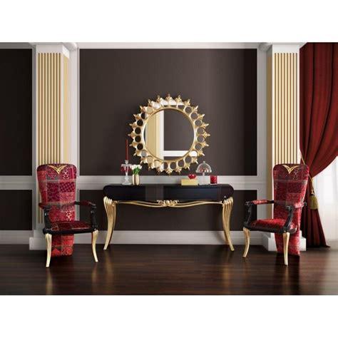 Console De Luxe Noire 1900 Et Miroir Soleil Meuble D'entrée
