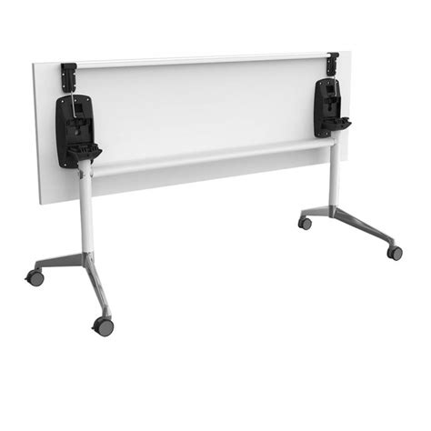 moda folding flip top mobile training room table white legs apex