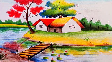 landscape scenery drawing  color pencil color pencil