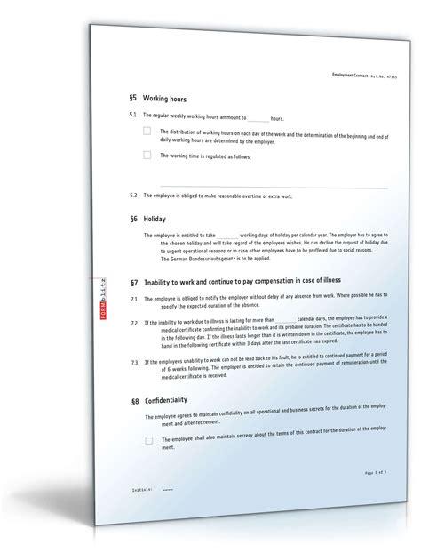 Arbeitsvertrag Deutsch Und Englisch  Vorlage Zum Download