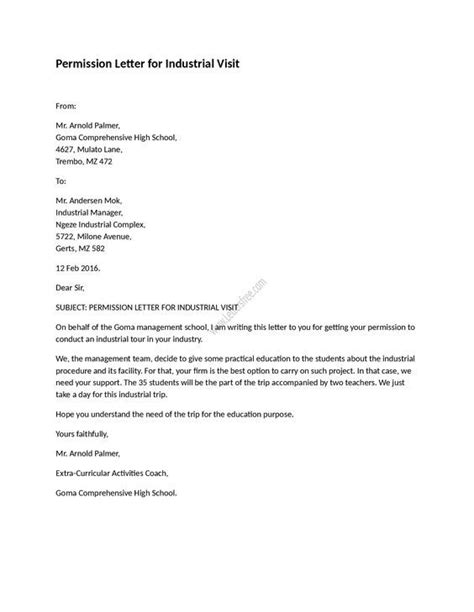 Permission Letter for Industrial Visit | English | Consent