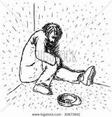 Homeless Drawing Illustration Freehand Left sketch template