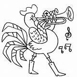 Coloring Trumpet Rooster Playing Template Sheet Trombone sketch template