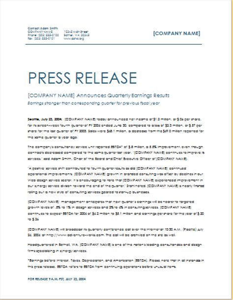 quarterly earning press release template word excel