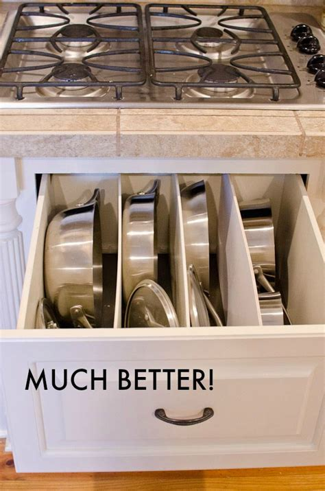 pots pans drawer diy kitchen organization storage cabinet organize way cookware cleaning cabinets pantry organized spring bins sink under trash