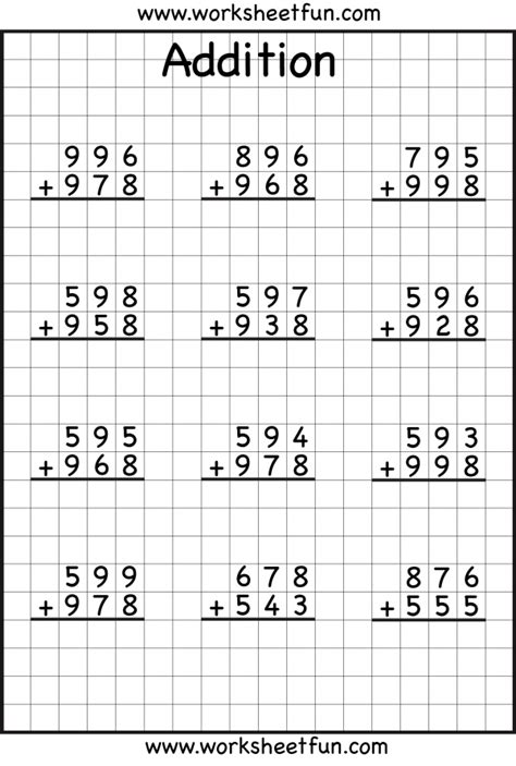 digit addition  regrouping carrying  worksheets