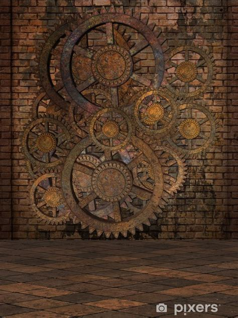 steampunk background wall mural pixers    change