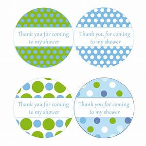 Instant download blue green polka dots baby shower by pinkthecat for Free printable baby shower thank you tags