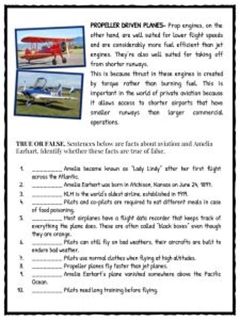amelia earhart facts information worksheets  kids