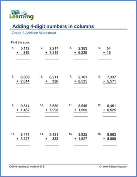 grade 3 math worksheet addition adding 4 digit numbers
