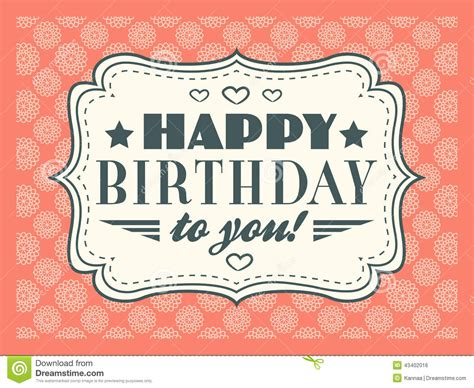 happy birthday card typography letters font type stock vector image 43402016
