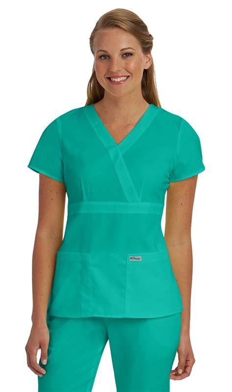 greys anatomy womens   pocket mock wrap scrub top