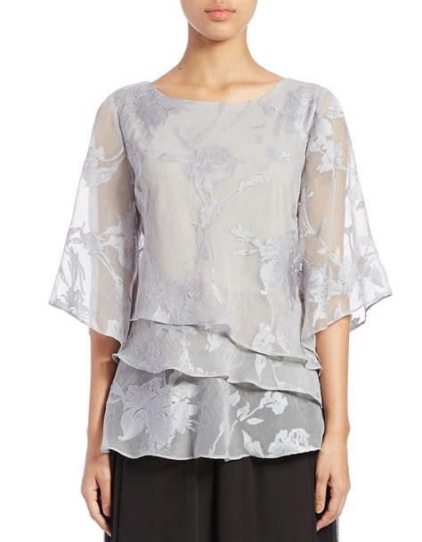 silver blouse alex evenings tiered floral blouse in metallic lyst