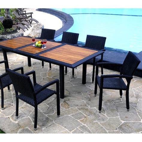 mobilier de jardin en teck et resine tressee ensemble de jardin 8 fauteuils resine
