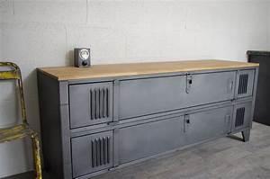 Meuble Tv Casier Industriel : meuble tv industriel idees pinterest meuble tv industriel meuble tv et industriel ~ Nature-et-papiers.com Idées de Décoration