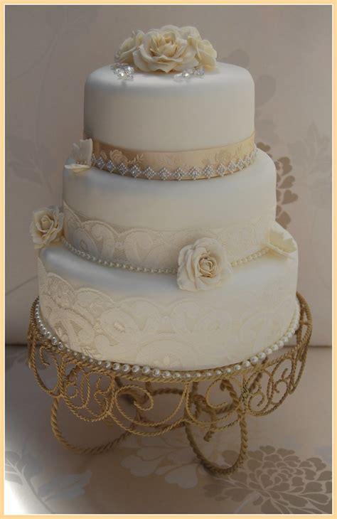 white  champagne vintage wedding cake lace diamante tri