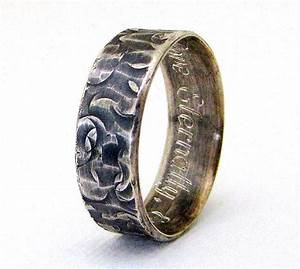 engraved wedding band mens silver wedding ring distressed With mens wedding rings engraved