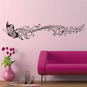 decorative music butterfly wall stickers wall art decal With butterfly wall decals