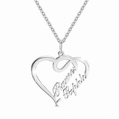 Necklace Silver Personalized Hearts Overlapping Sterling