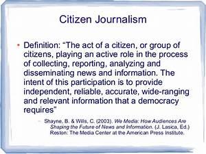 Citizen journal... Journalism Definition