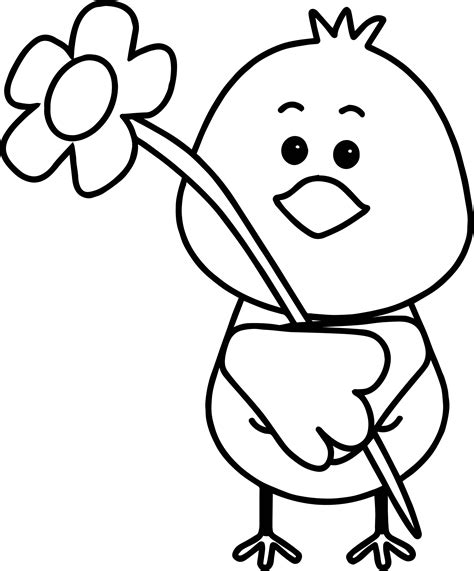 Bird Flower Spring Coloring Page Wecoloringpagecom