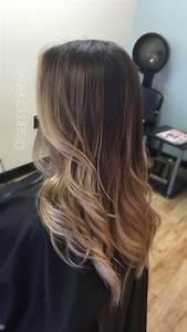 Platinum warm blonde ombré on natural dark hair ...