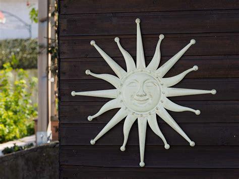 wanddekoration sonne 60cm metall garten terrasse creme weiss antik stil metal ebay