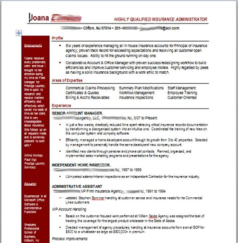 insurance professional resume search