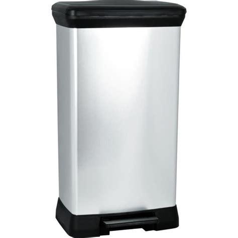 poubelle cuisine a pedale 50 litres curver poubelle à pédale 50l aspect métal argent achat
