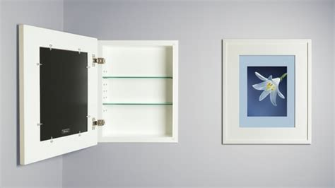 large white concealed cabinet recessed in wall medicine