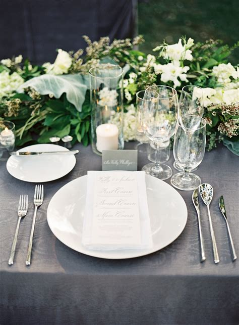 gray and white place settings steve steinhardt photography theknot reception