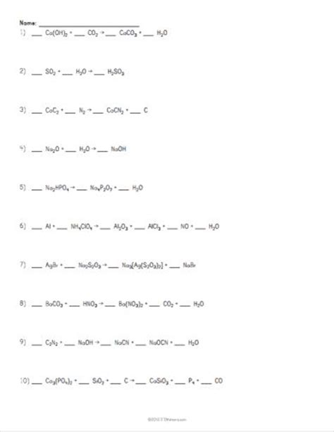 science equation and worksheets on