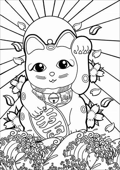 Coloring Japan Wave Pages Neko Maneki Sun