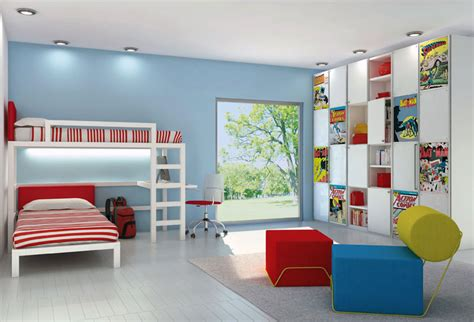 bedroom with bunkbeds and comic book storage