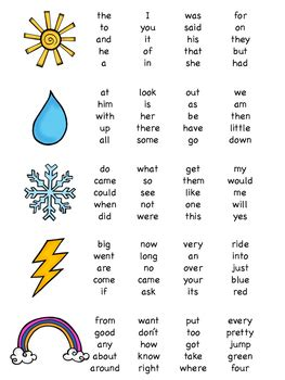 lets learn sight words dolch word list weather theme