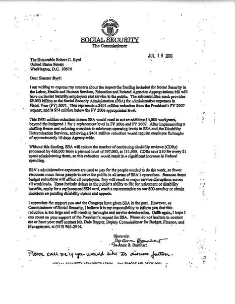 social security letter social security news stark warning on social security budget