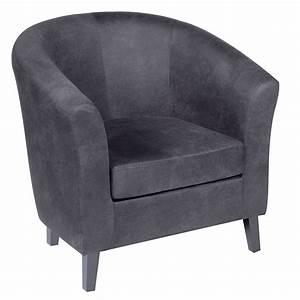 Fauteuil Club Tissu : fauteuil club tissu aspect cuir gris de qualit petit prix ~ Teatrodelosmanantiales.com Idées de Décoration
