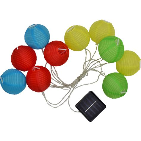 led solar powered multi colored lantern string lights