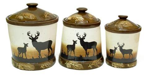 Silhouette Deer 3pc Ceramic Canister Set  Antler Kitchen