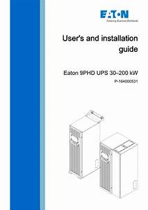 Eaton 9phd Ups 30 U2013200 Kw User S And Installation Guide