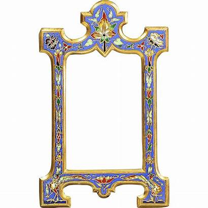 French Antique Bronze Enamel Frame Wall Champleve
